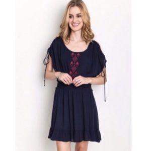 Cold Shoulder Embroidered Dress Navy Blue